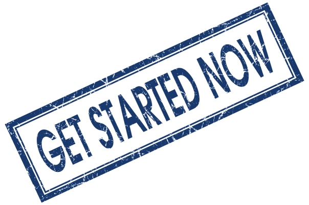 Get Started Now Blue Square Stamp Isolated On White Background