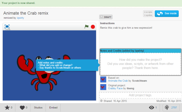 Screenshot of Animate the Crab remix - share page