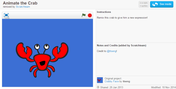 Screenshot of Animate the Crab