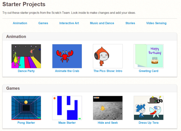 Screenshot of Scratch Starter Projects